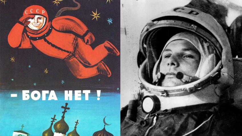 ポスター「神様が存在しない」(左)、ユーリ・ガガーリン(右)