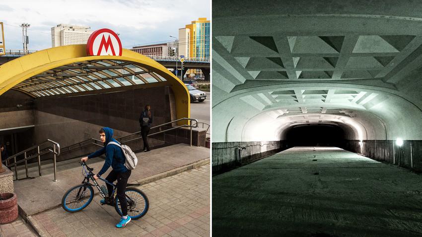 Bagian luar dan dalam metro Omsk.