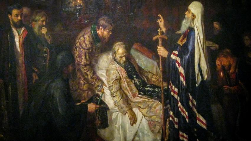 """""""Antes da morte de Ivan, o Terrível, o Metropolita lhe confere a ordem do Skhíma"""", quadro de Piotr Gueller."""