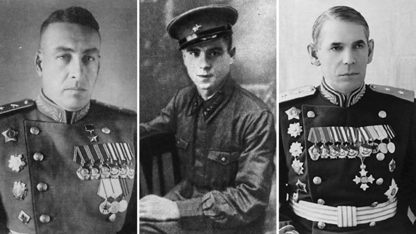 (Dari kiri) Sergei Volkenstein, Vyacheslav Meyer, Nikolai Gagen.