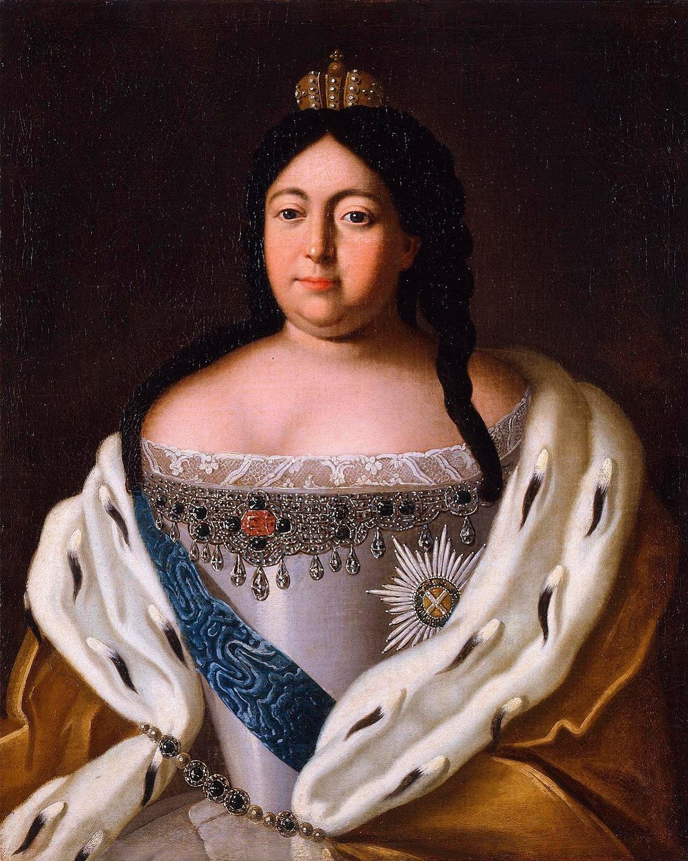 Retrato de Anna Ivanovna feito por pintor desconhecido (1670-1917).