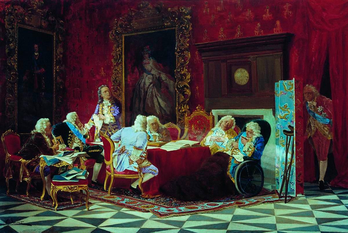 """Valéri Iacobi, """"Ministros de Gabinete de Anna Ivanovna"""" (1889)."""