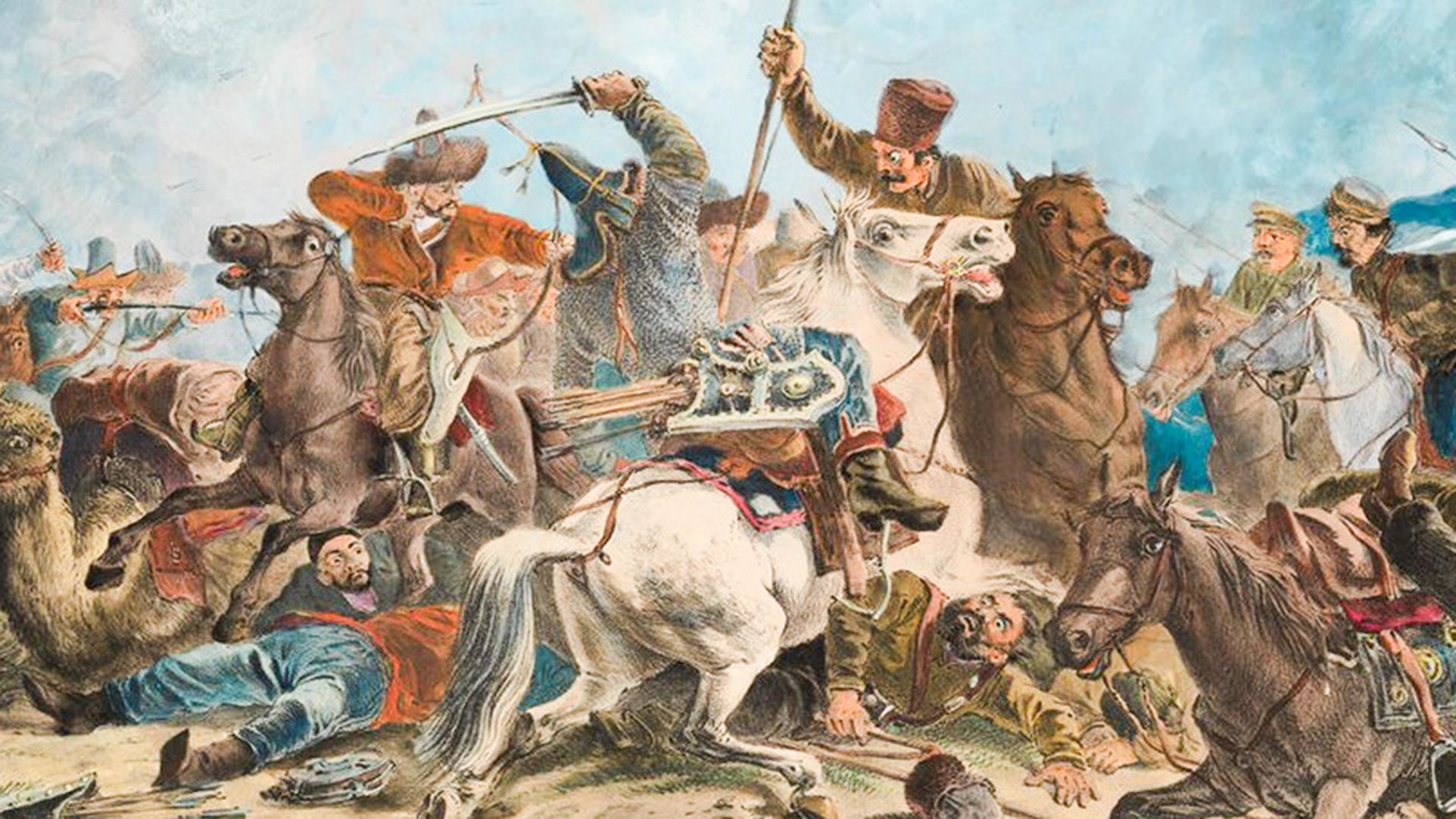 Kosaken kämpfen gegen Kirgisistan.