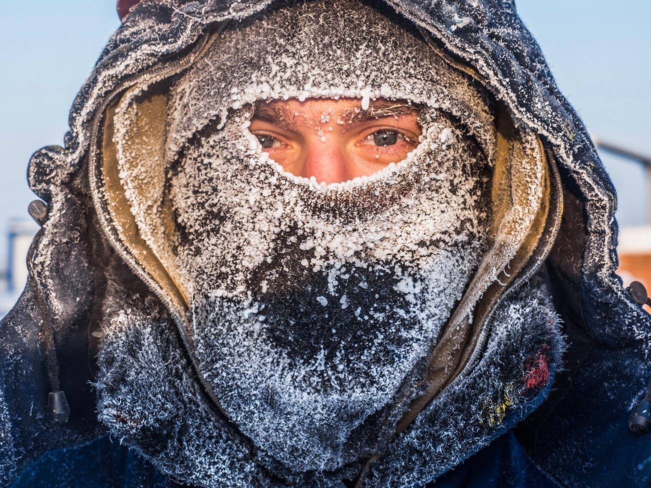 Die Stadt Neftejugansk, minus 62 °C draußen.