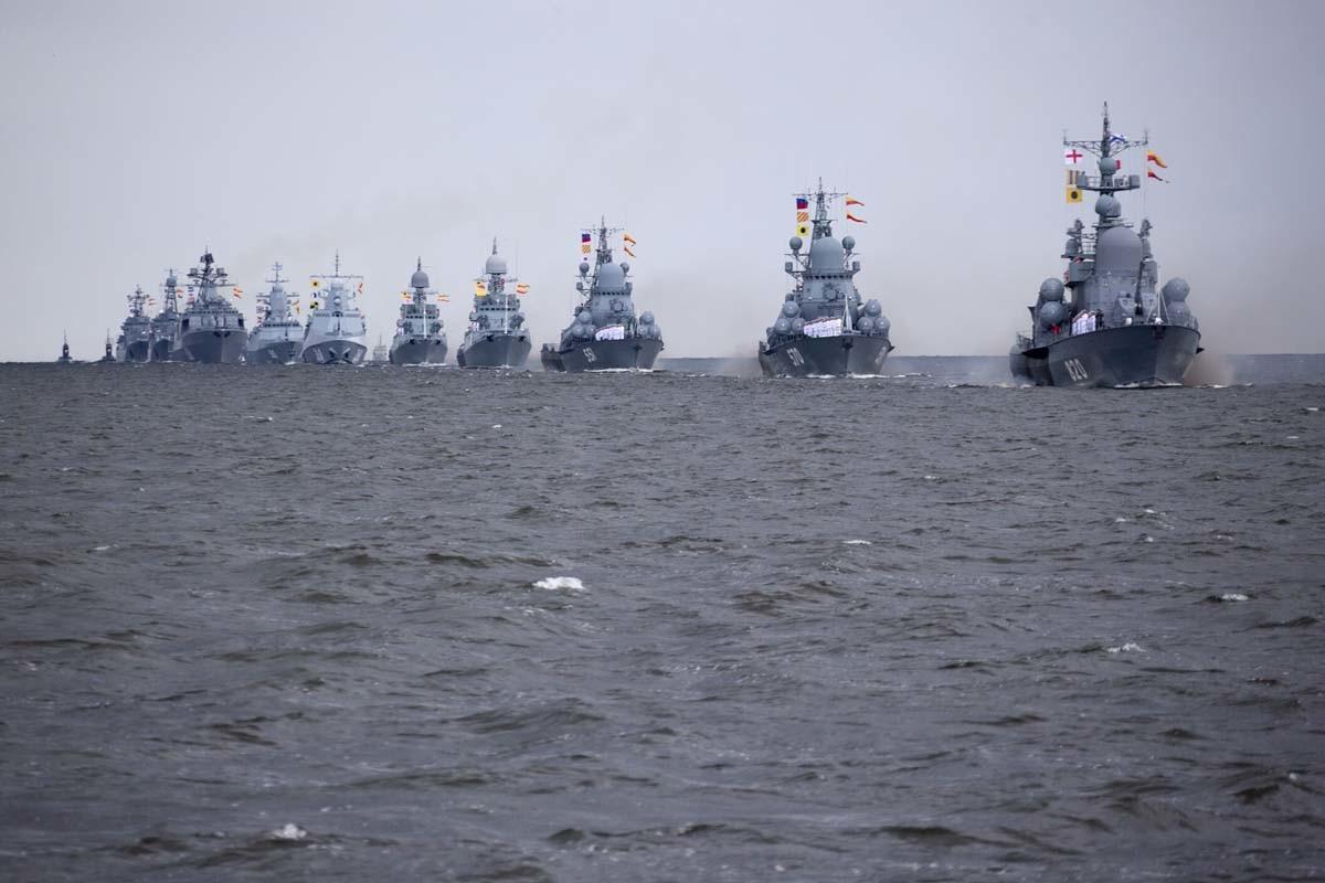 Поморска војна парада у Санкт Петербургу, генерална проба уочи Дана Ратне морнарице.
