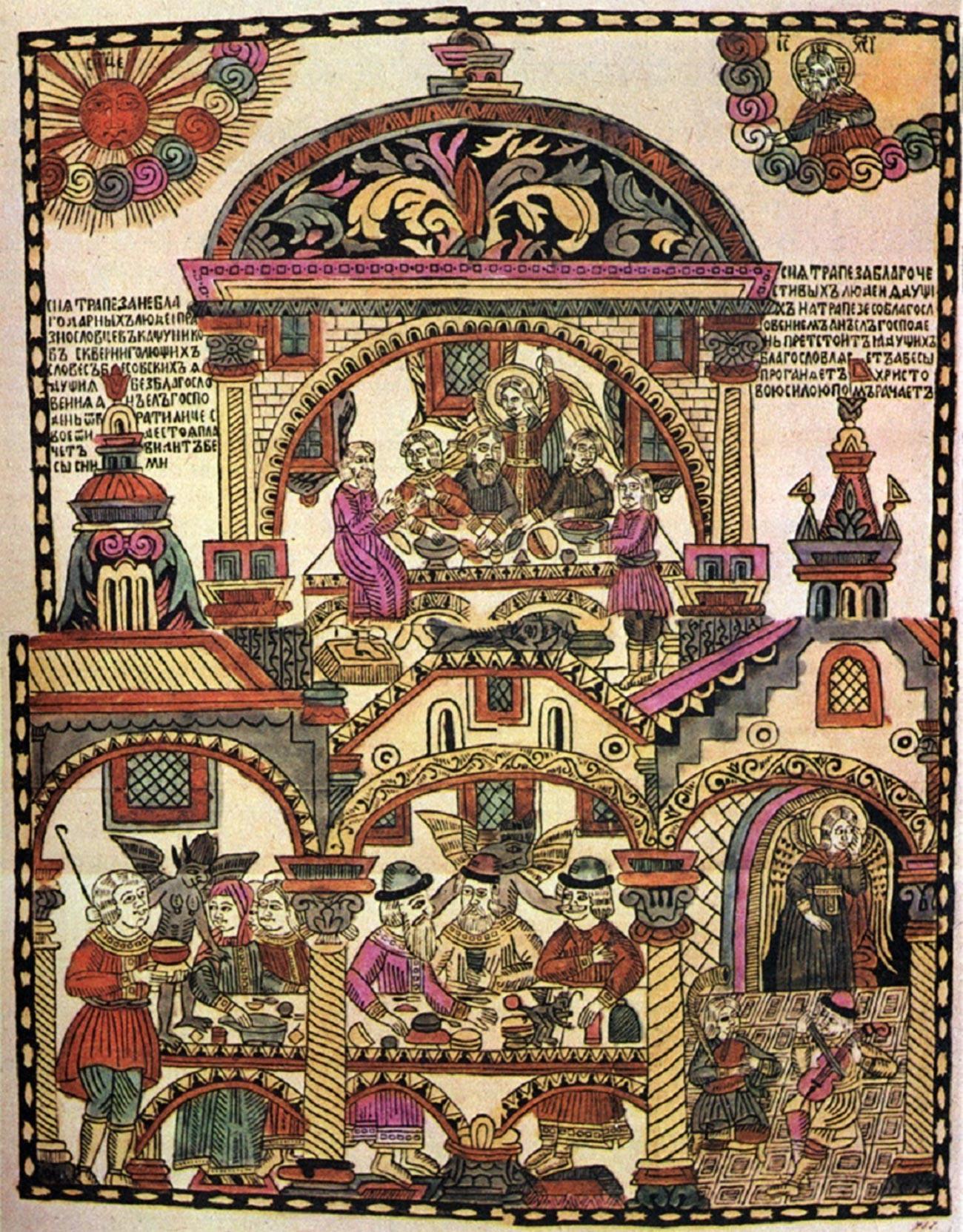 """Lubok """"Festa dos piedosos e ímpios"""", século 18."""
