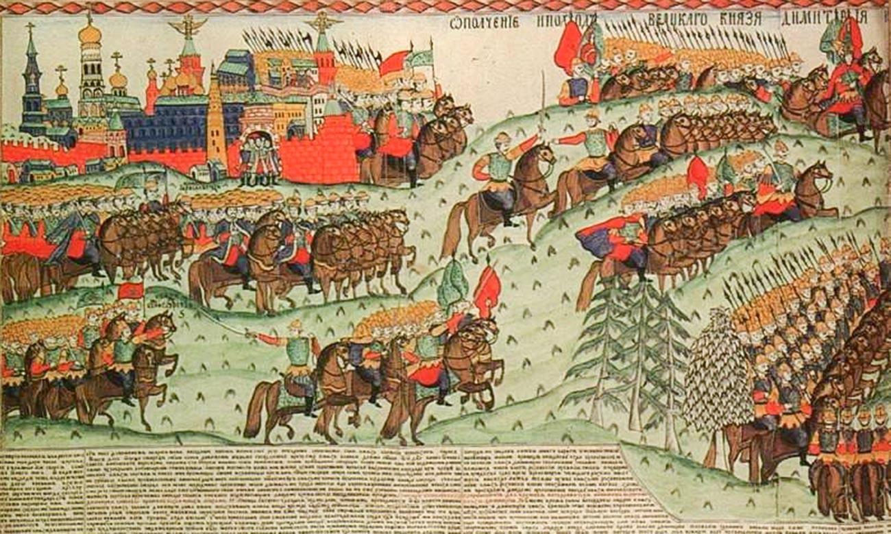"""Lubok """"A Batalha de Kulikovo"""". I.G. Blinov, segunda metade do século 19."""