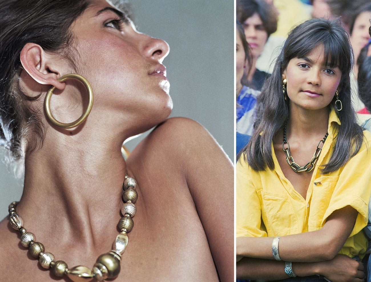 Left: Plastic jewelry made in Georgia. Right: A lady attends a public event in Kizhinev, Moldova.