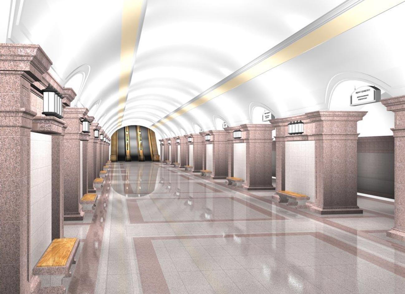 So könnte eine Station in der Metro Tscheljabinsk aussehen.