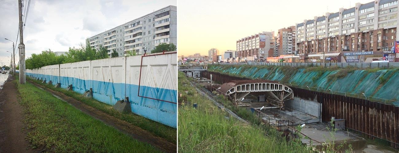 「ラボーチャヤ」駅(左)と「ザレチナヤ」駅(右)の建設現場
