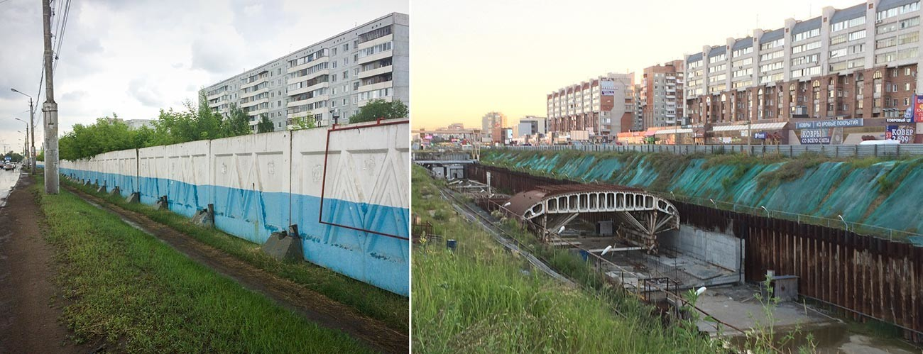 Betonska ograja postaje Rabočaja in temeljna jama postaje Zarečnaja, julij 2019.