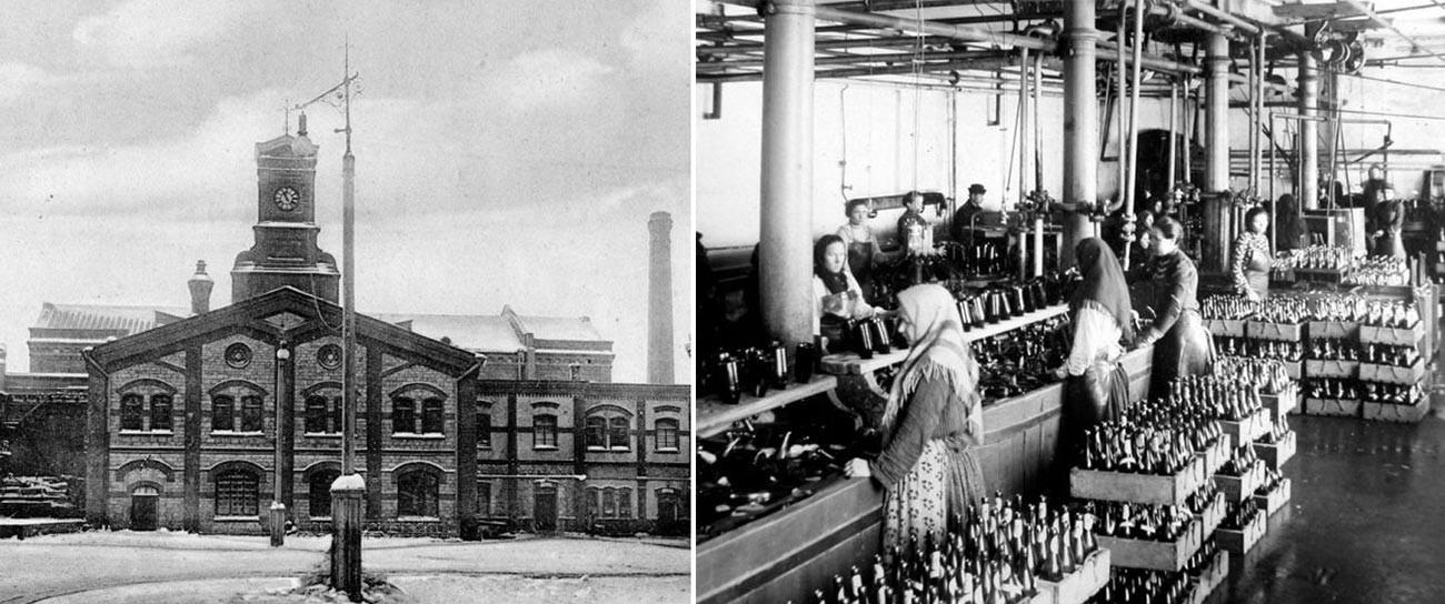 ビール工場(左)と容器づめ作業(右)