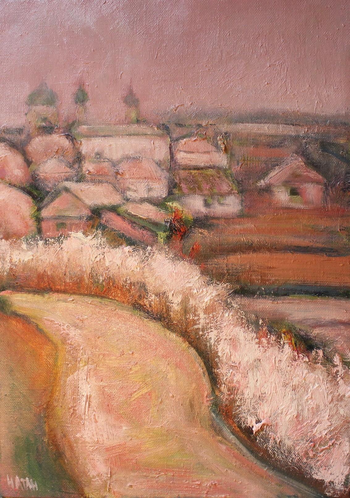 Prière. La toile a été réalisée en plein air dans le domaine familial d'Alexandre Pouchkine, Mikhaïlovski, sous l'influence du livre du même nom d'Ivan Chmelev. Dans ce récit, il y a un passage où la famille quitte l'église et tout semble rose : ciel, air, champs, forêts, vêtements.