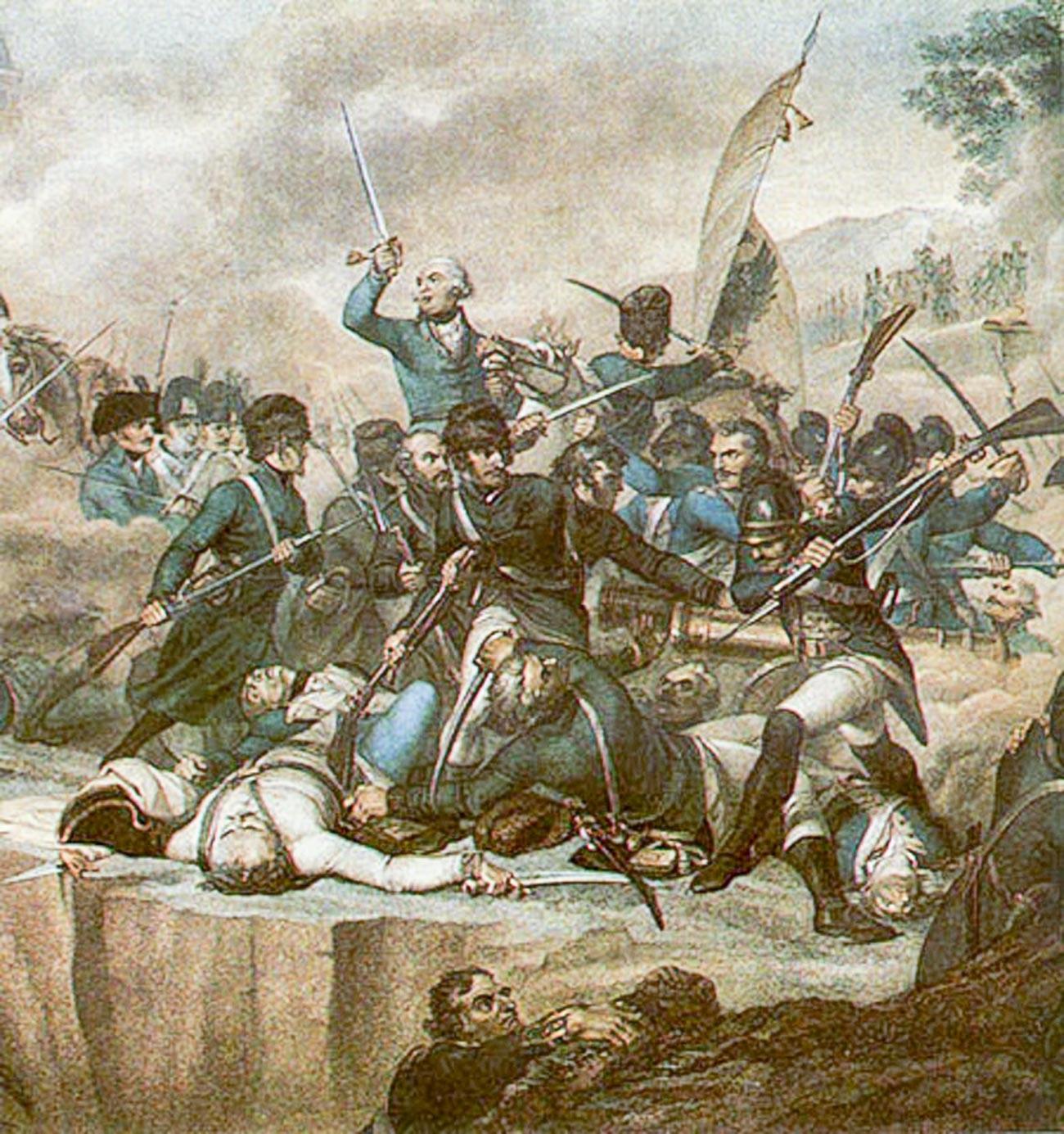 Jenderal Suvorov dalam pertempuran di tepi Sungai Adda pada 27 April 1799.