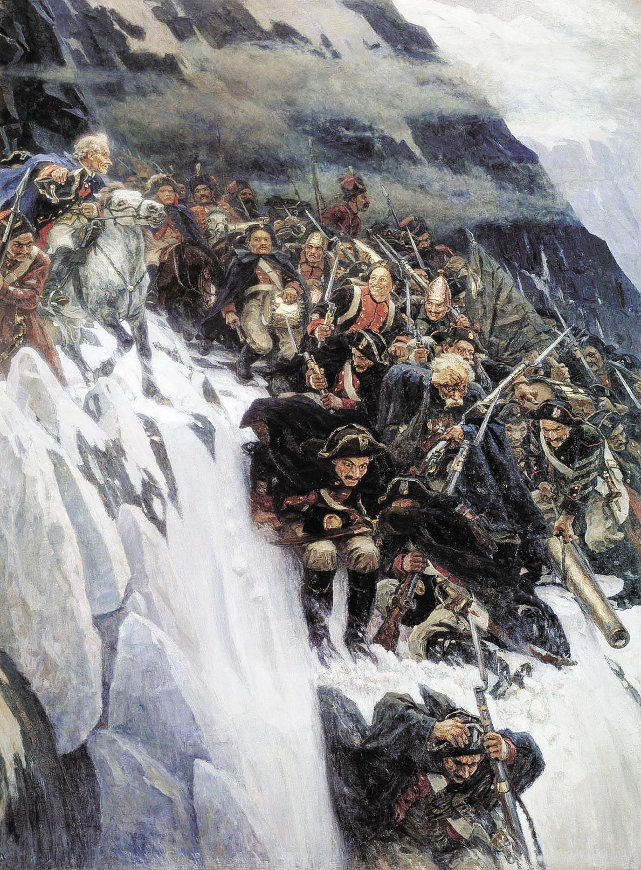 Suvorov melintasi Pegunungan Alpen pada 1799.