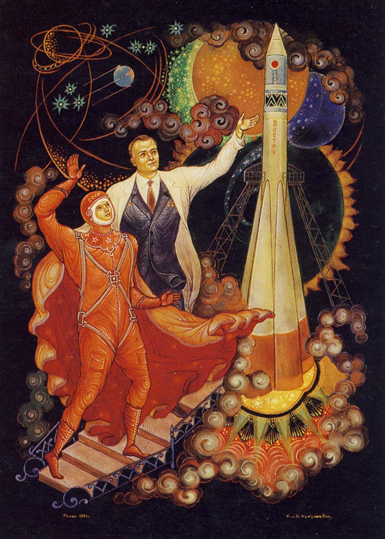 """Sergey Korolev mengirim Yuri Gagrin ke ruang angkasa. Dari seri """"Penjelajahan Ruang Angkasa"""". Lukisan miniatur tradisional Rusia, Palekh."""