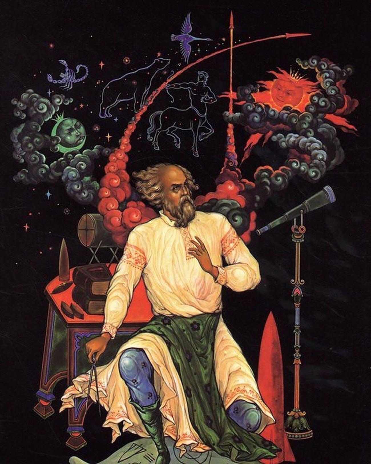"Konstantin Tsiolkovsky. Dari seri ""Penjelajahan Ruang Angkasa"". Lukisan miniatur tradisional Rusia, Palekh."