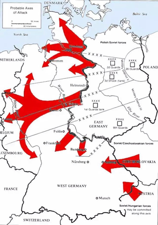 Възможни оси на атака от страните във Варшавския договор