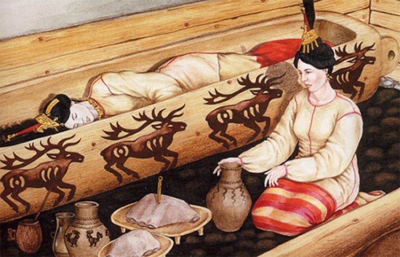 Die Rekonstruktion des Begräbnisses der sibirischen Eisjungfrau.