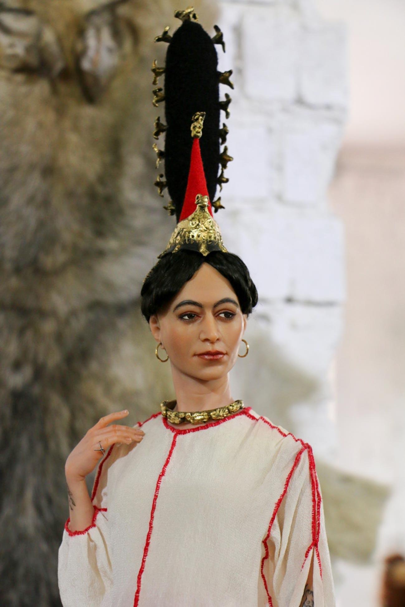 """Eine künstlerische Rekonstruktion des Bildes der """"Sibirischen Eisjungfrau"""" von Jekaterina Schardakowa."""