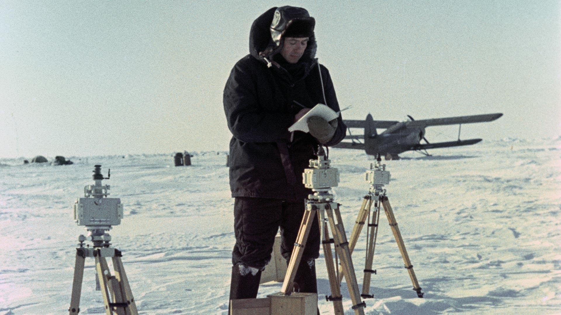 Soviet polar explorer at North Pole-8 station.