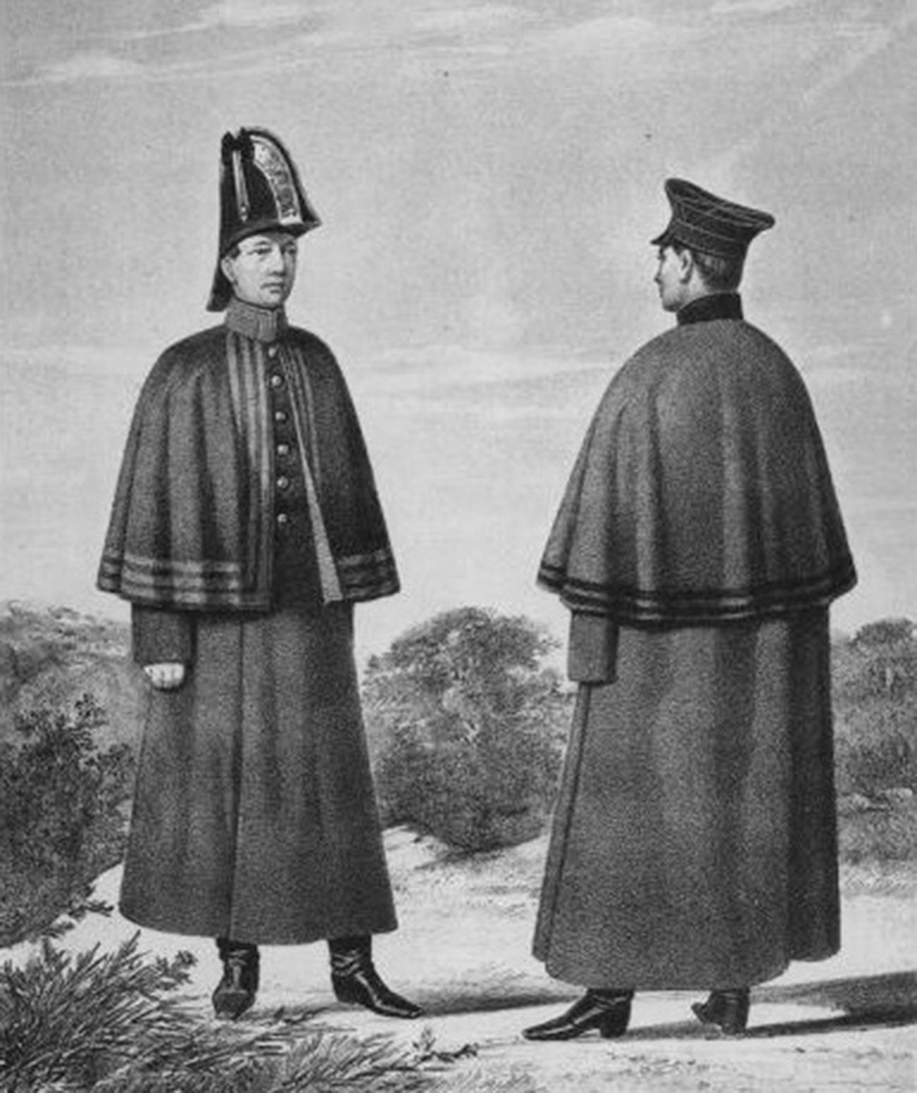 Gravura retratando soldados-serventes uniformizados da Guarda Imperial (esq.) e do Exército Imperial (dir.), 1825-1855.