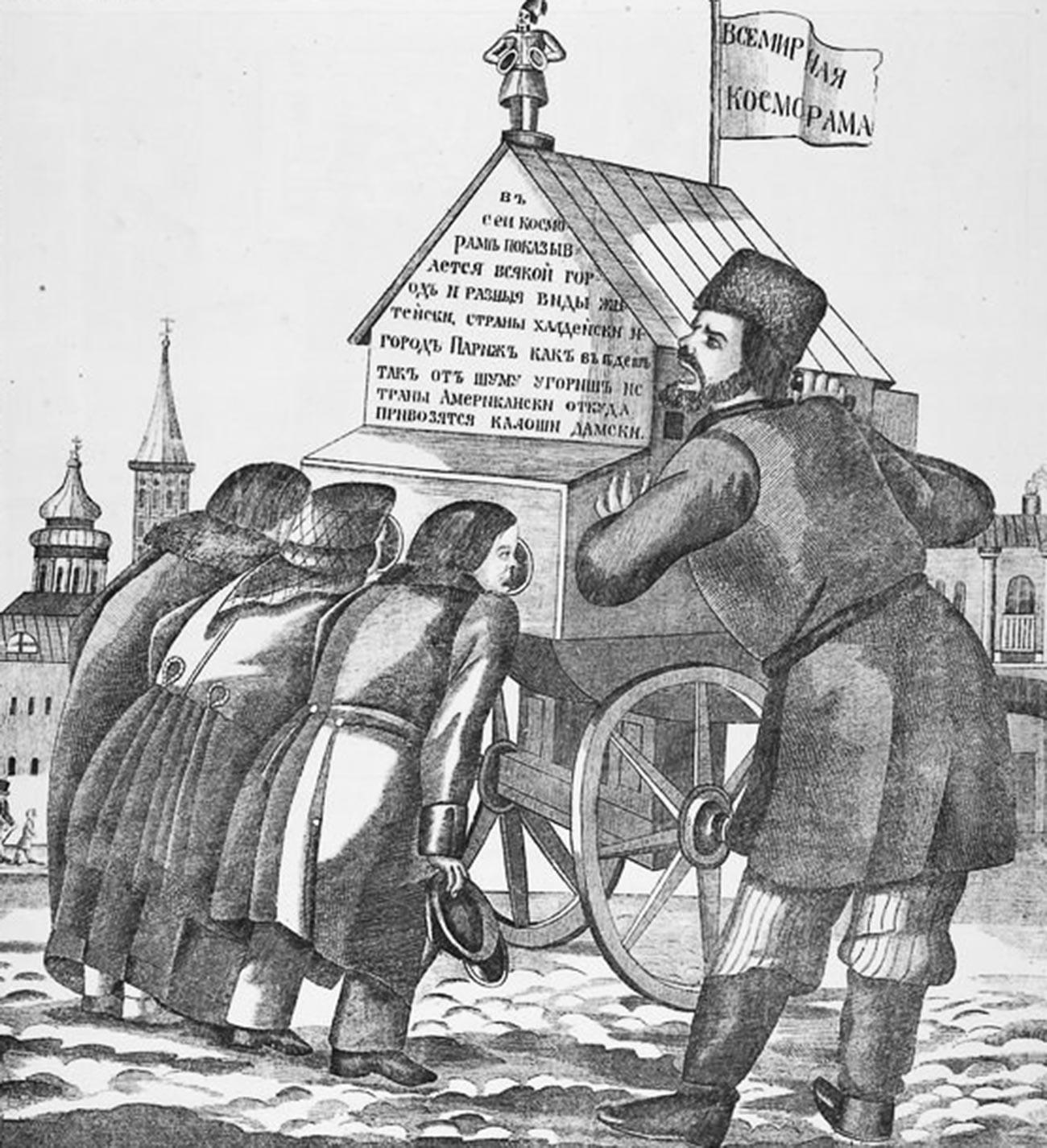 """Um """"raiók"""" e seu operador em gravura do século 19."""