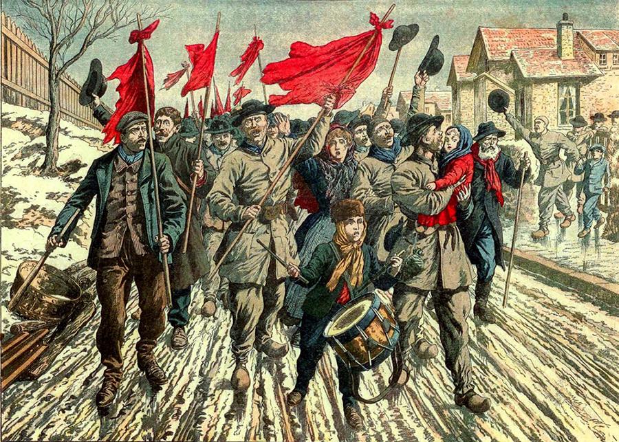 Le cortège des mineurs du Pas-de-Calais en grève parcourant les corons