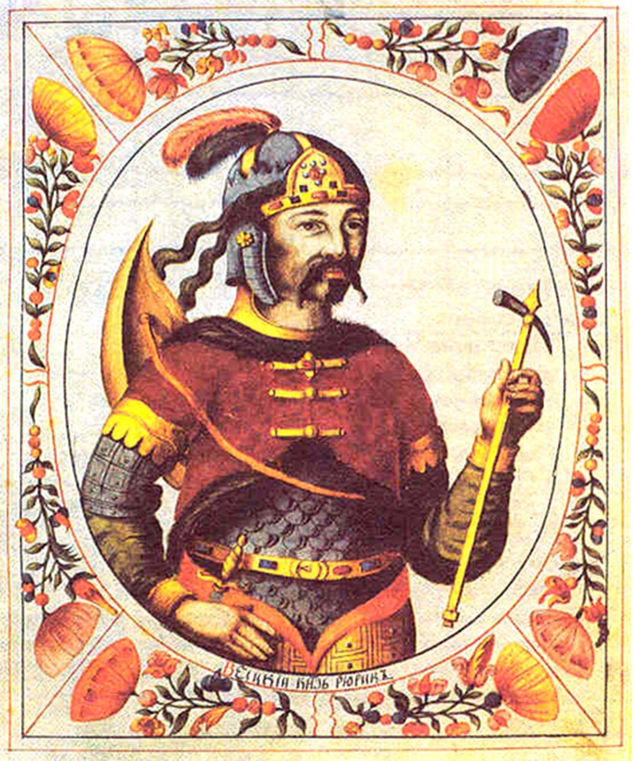 Rurik, miniatura del Libro Titular del Zar, siglo XVII.