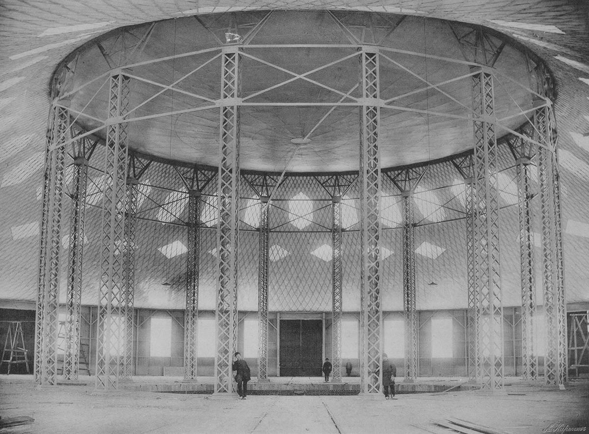 Prva jeklena prekrivna membrana na svetu. Rotunda V. G. Šuhova, Nižnji Novgorod, 1896
