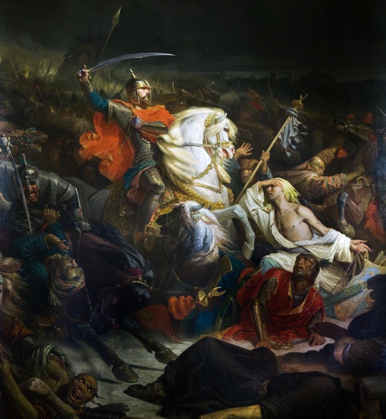 Dmitri Donskói en la batalla de Kulikovo Pole.