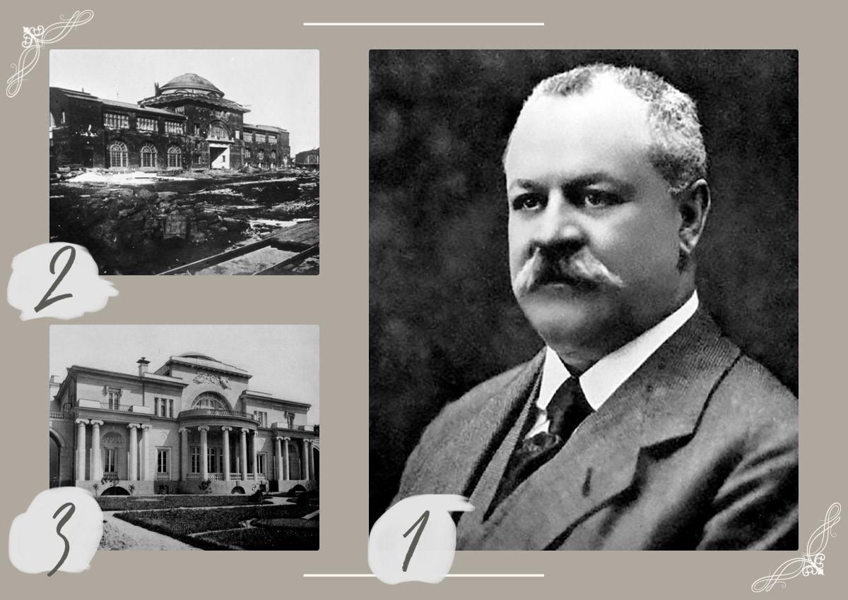 "1 - Nikolaj Wtorow. 2 - Bau des Automobilwerks AMO (jetzt benannt nach I. A. Lichatschew""). 1926 Jahr.  3 - Wtorows Herrenhaus (Spaso-Haus) in Moskau."
