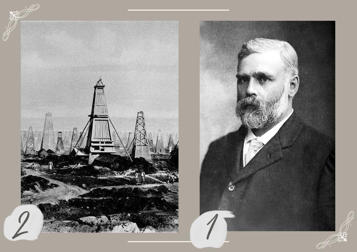1 - Der schwedische Industrielle Emmanuel Nobel (1859-1932).  2 - Ölfelder in Baku.