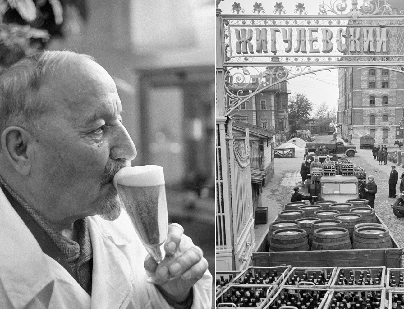 El cervecero Alexánder Kasiánov y la vista de la planta Zhigulióvskoie en la época soviética.