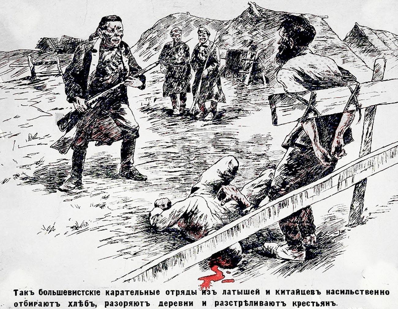 Propagandaplakat der weißen Bewegung, das rote chinesische und lettische Soldaten darstellt.