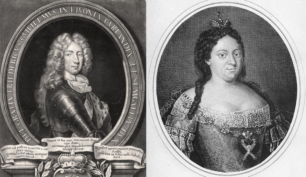 クールラント公フリードリヒ・ヴィルヘルム(左)とアンナ・ヨアーノヴナ(右)