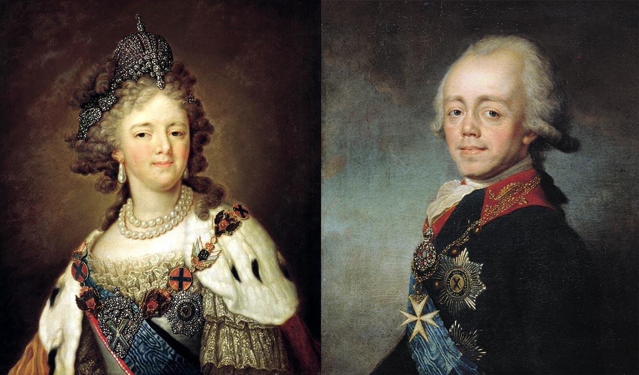 マリア・フョードロヴナ(左)とパーヴェル1世(右)