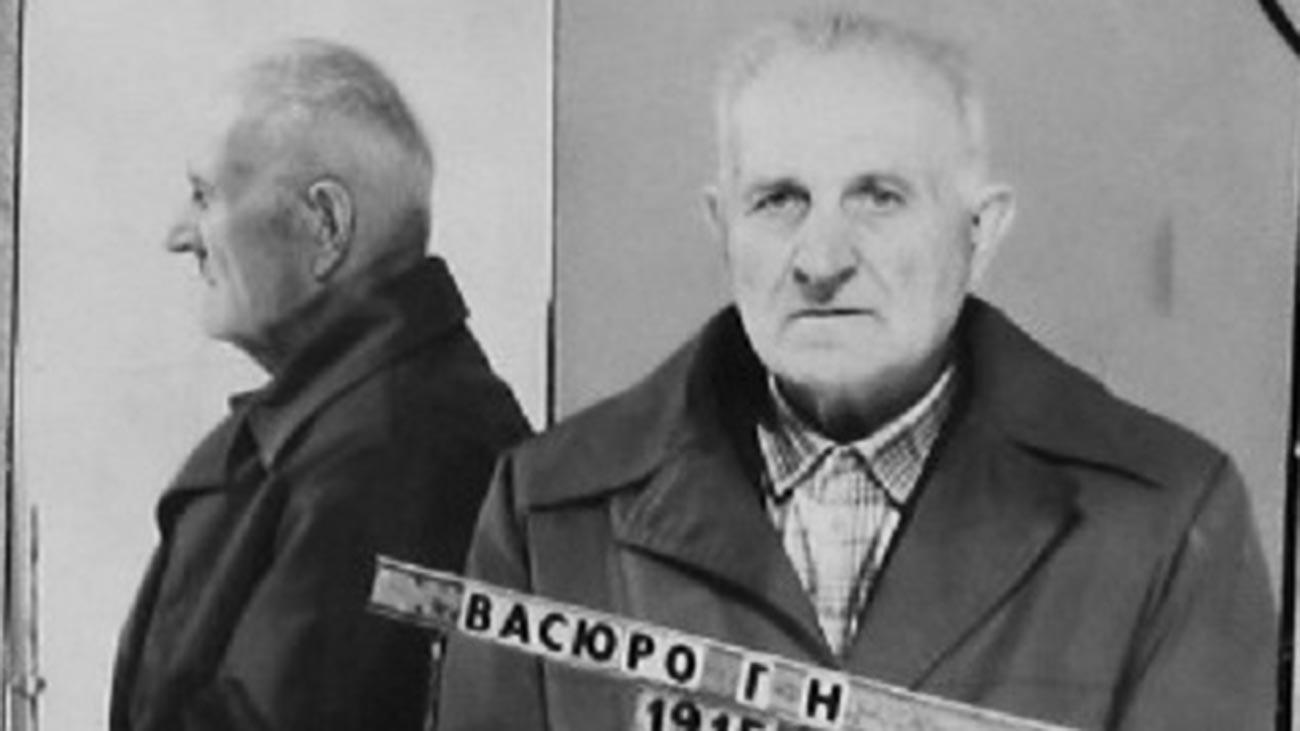 Фотография хатынского палача Григория Васюры из его уголовного дела, 1986 год.