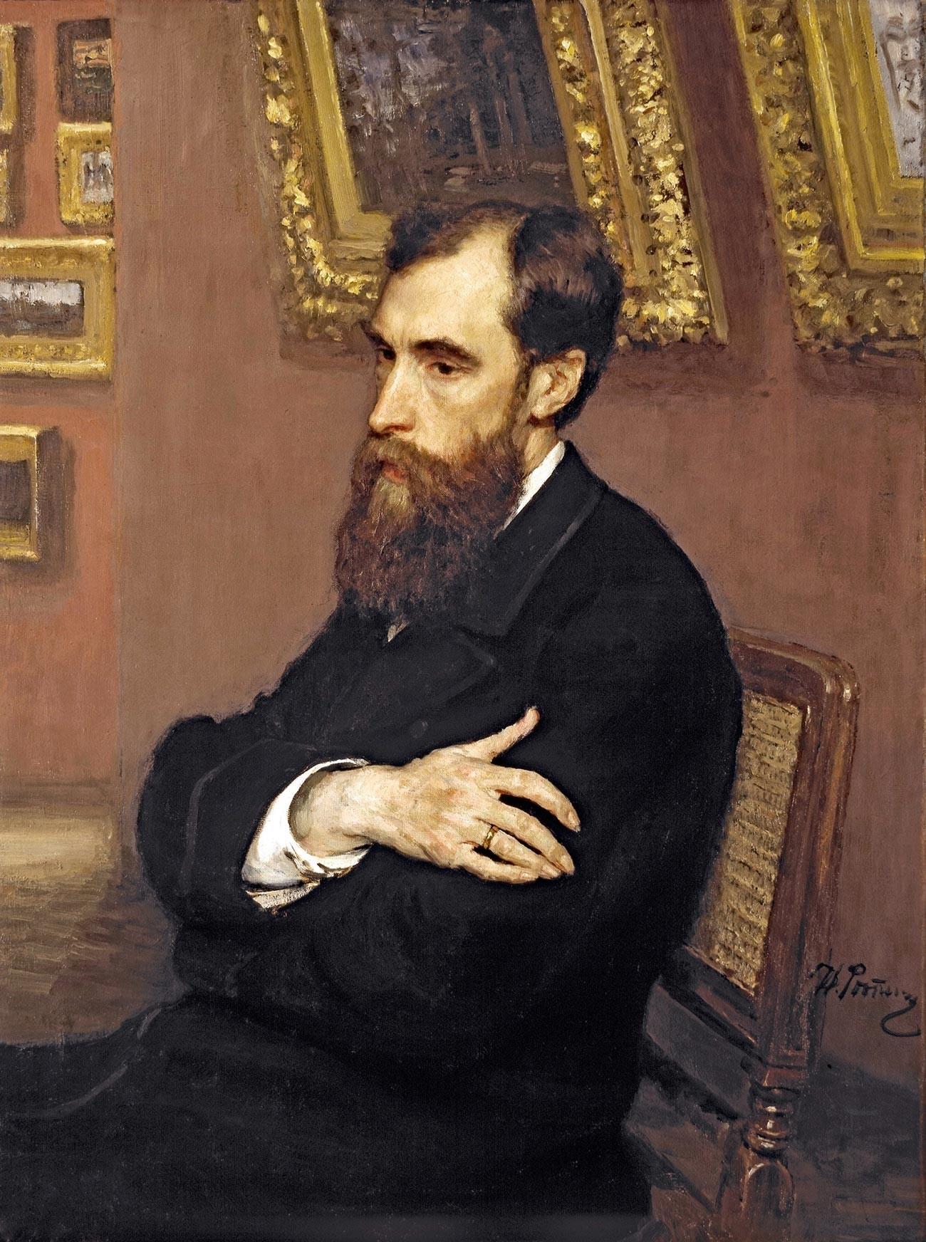 Ilja Repin. Porträt von Pavel Tretjakow.