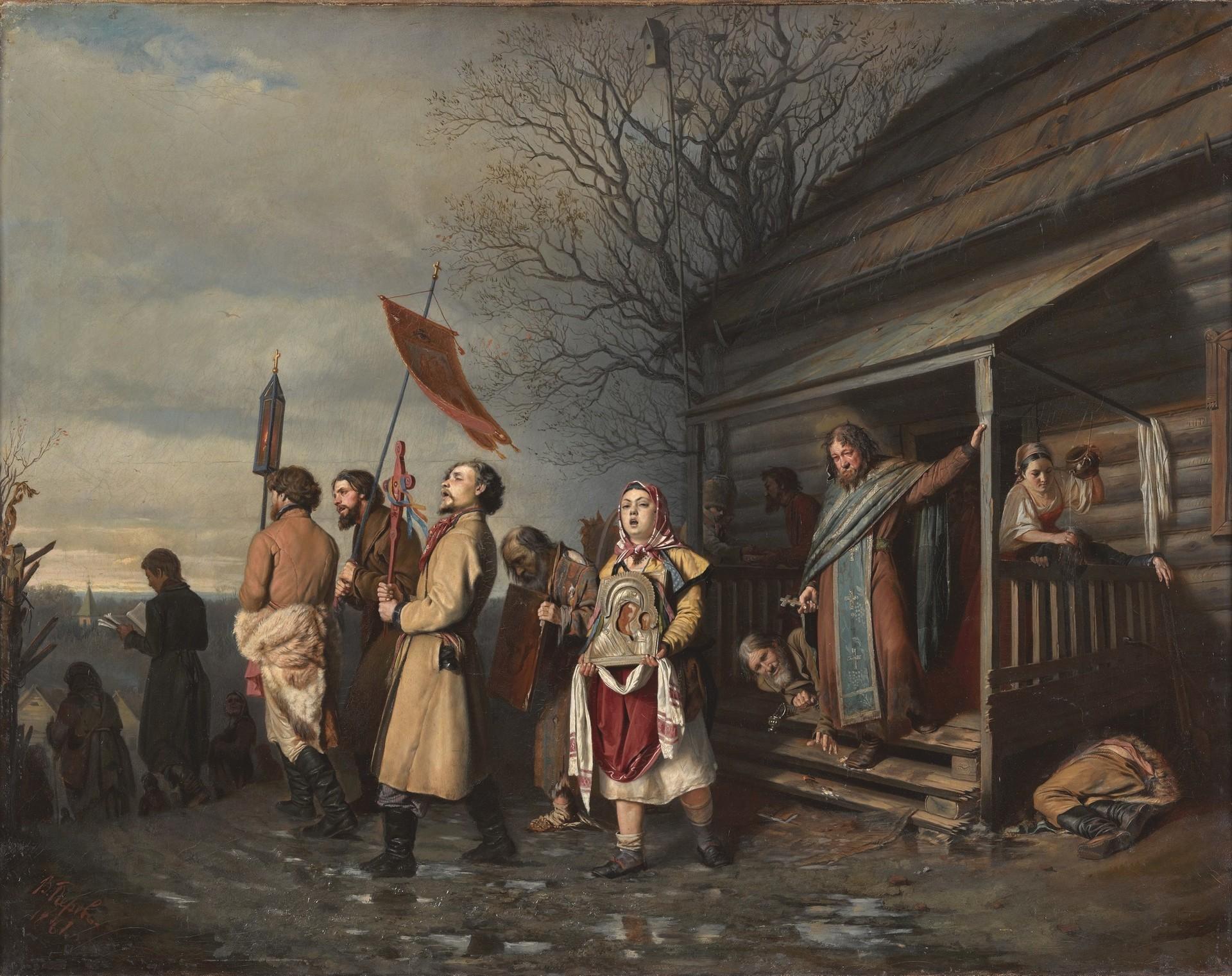 Wassili Perow. Osterprozession in einem Dorf, 1861.