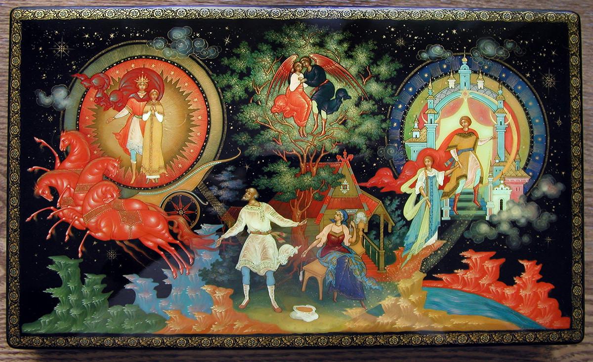 Сказочные мотивы на палехской миниатюре встречаются чаще всего.