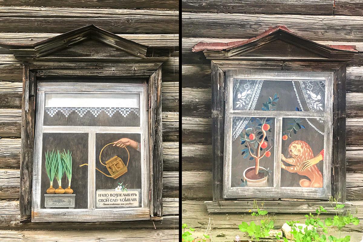 Так местные художники украсили пустующий дом в центре Палеха.