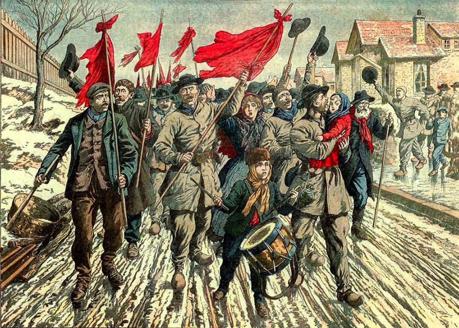 The procession of rioting miners of the Pas-de-Calais on a strike walk