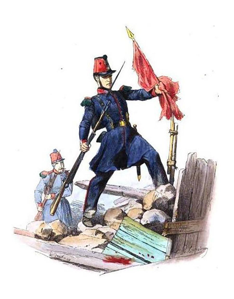 Soldato della guardia nazionale francese abbatte uno striscione rosso durante la rivoluzione del 1848