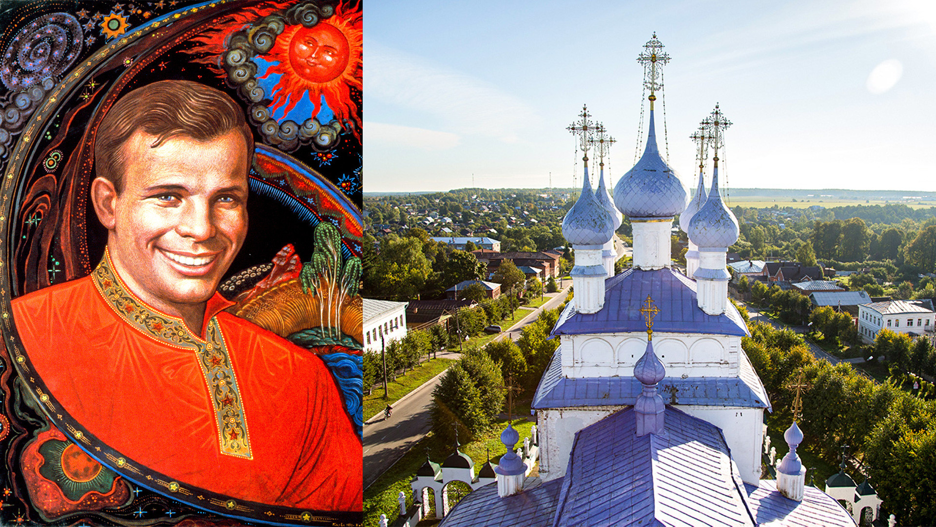 Yury Gagarin in the traditional Palekh style and the view of Palkeh's main church with violet domes.