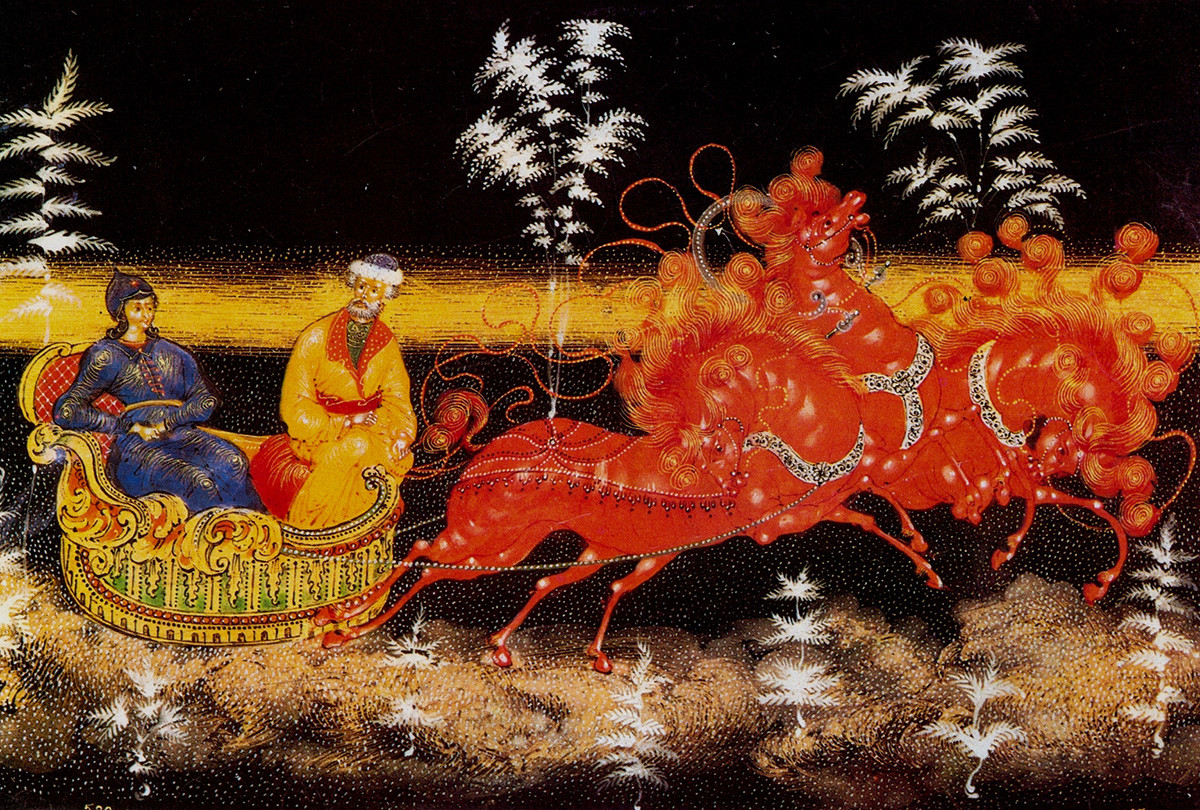 Lacquer miniatures most often depict plotlines from Russian folk tales or everyday situations, although there were also so-called 'agitlak' pieces depicting Red Army soldiers and revolutionaries.