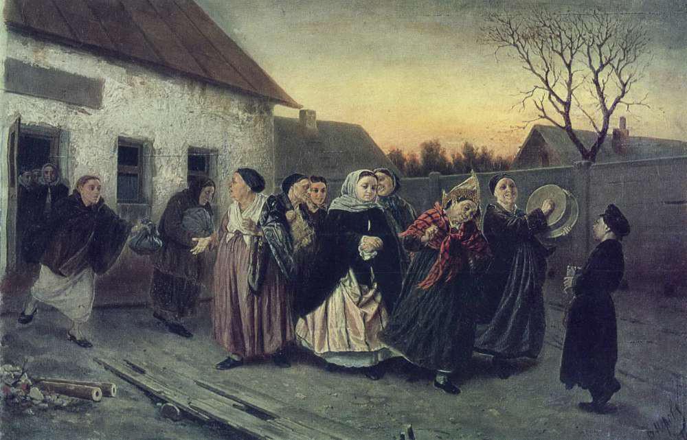 Vassili Perov. À la veille d'un enterrement de vie de jeune fille. Transfert de la future mariée du bania, 1870