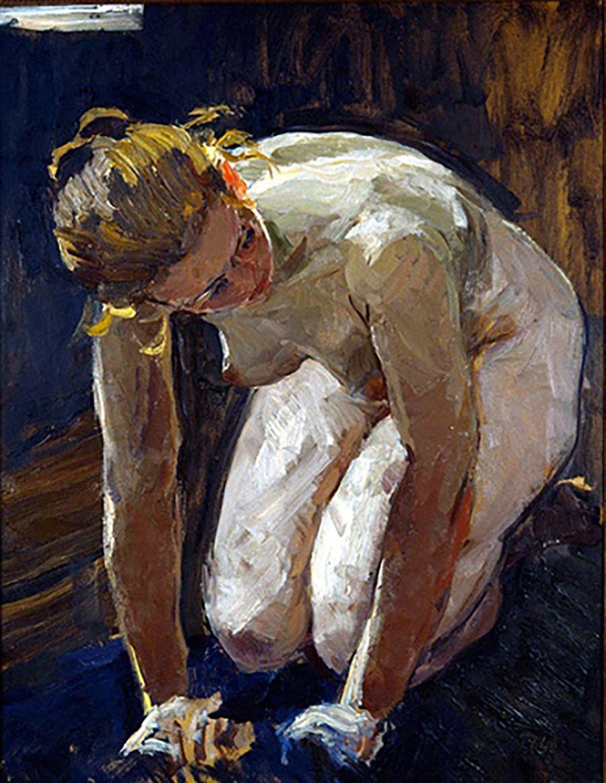 Vladimir Stojarov. Femme lavant le linge. Étude. 1960