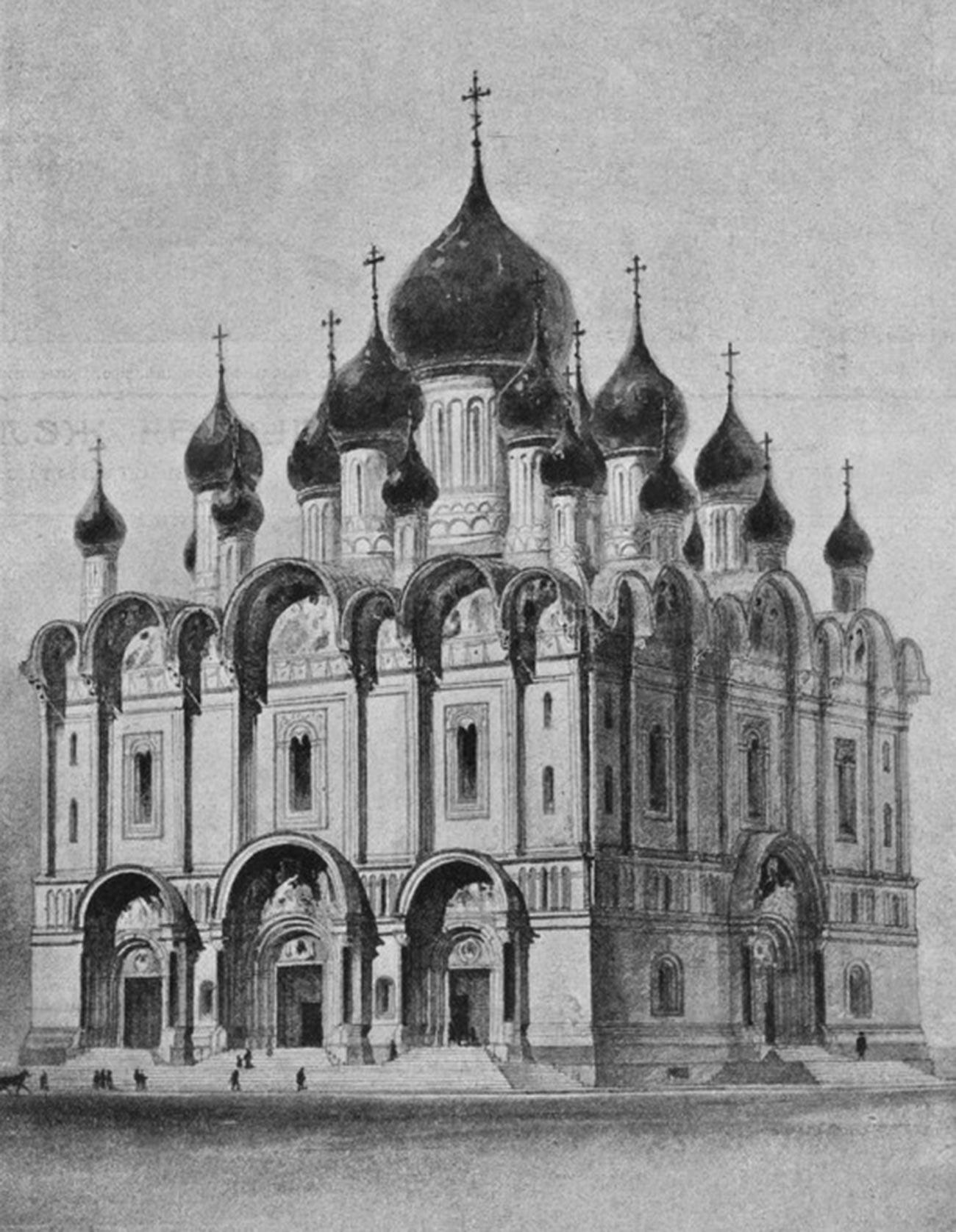 L'extérieur de la cathédrale Alexandre Nevski. Dessin d'après le projet de A. N. Pomerantsev (1904)