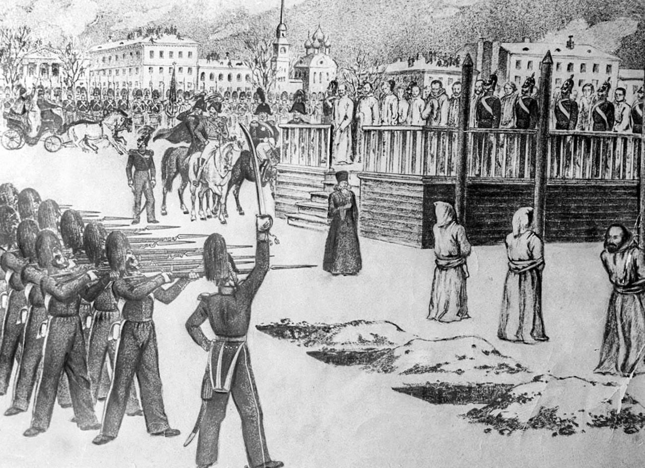 Инсценација погубљења на Семјоновском тргу.